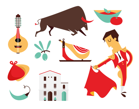 vector set Spain icons flat modern style isolated