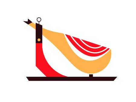 Spanish hammon vector food flat illustration white backgroun Illustration