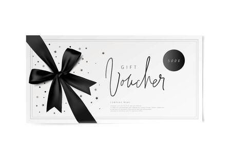 black vector voucher design with a bow