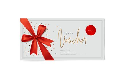 red vector voucher design with a bow Иллюстрация