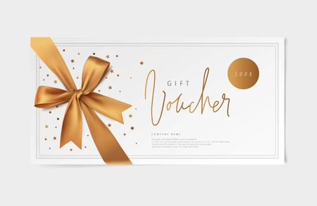 gold vector voucher design with a bow