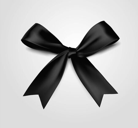 black vector bow illustration realistic 3d style on white background