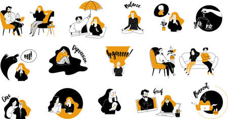 vector flat style modern illustrations therapy with a psychologist Vettoriali
