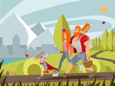 Young family with little boy and girl walking in park. Cartoon vector family walking outdoor with mountains and city background. Young mother, girl sitting on fathers shoulder and little boy in vikings helmet and sword summer illustration. Illusztráció