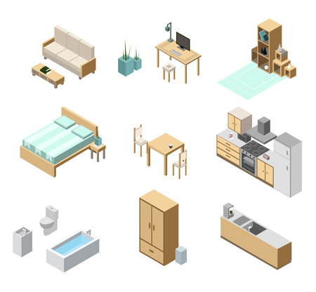 Isometric apartment isolated on white background. Kitchen, bedroom, living room and bathroom interior objects. Isometric furniture set.
