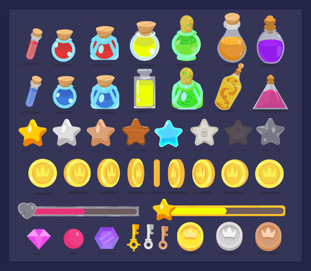 Big set of game resources and elements icon. Coins with animation, stars, life and power bars, poison bottles, keys and gems. Ilustração