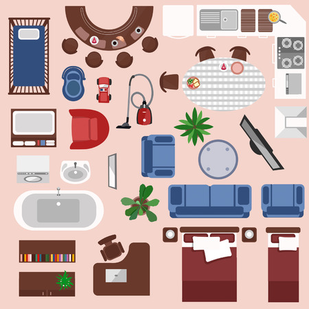 Interieur bovenaanzicht elementen set. Slaapkamer, kinderkamer, woonkamer, keuken, badkamer. Appartement meubelset.