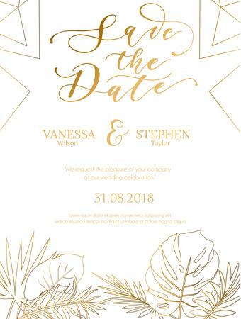 Conception d'été d'invitation de mariage avec des lignes géométriques et une silhouette de feuilles tropicales dorées. Modèle élégant pour l'engagement avec lettrage doré et fond blanc. Illustration vectorielle. Vecteurs
