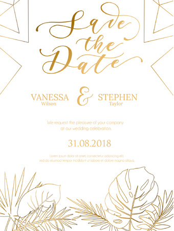 Wedding invitation summer design with geometric lines and gold tropical leaves silhouette. Elegant template for engagement with gold lettering and white background. Vector illustration.