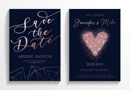 Save the date wedding invitation cards on navy blue background with rose gold lettering,glittered heart and geometric lines. Elegant design template for  wedding invitation.