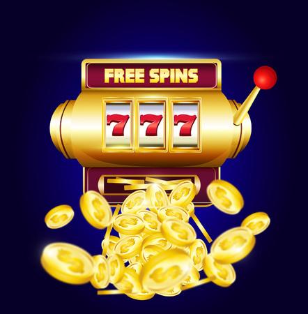 """777 slots 3d-machine met grote winstmunten en inscriptie """"gratis spins"""". Lucky sevens jackpot poster voor casino op blauwe achtergrond met munten. Vector illustratie."""