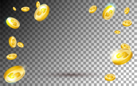 Flying gold coins explosion on transparent background. Realistic falling gold coins set for sale banner, casino, advertising or promotion. Vector illustration. 向量圖像