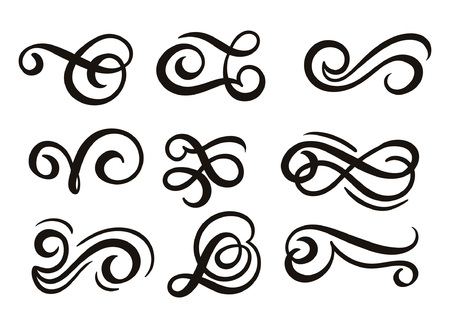 Flourishes set isolated on white background. Hand drawn flourish elements for invitations, posters, cards, restaurants etc. Vecto illustration. Banco de Imagens - 114889447