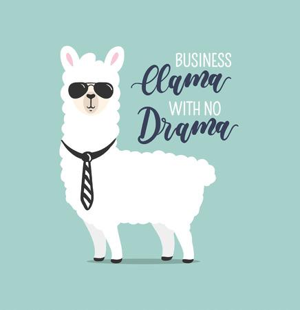 Llama de negocios sin drama linda tarjeta con alpaca dibujada a mano. Tarjeta de felicitación para el día del jefe o cartel motivacional con letras. Ilustración vectorial.