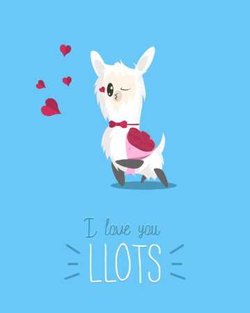I love you llots cute card with simple llama and hearts. Modern greeting card with alpaca for Birthday, Valentine's Day etc. Cute llama with rose flowers bouquet sending kisses. Vector illustration. Vettoriali