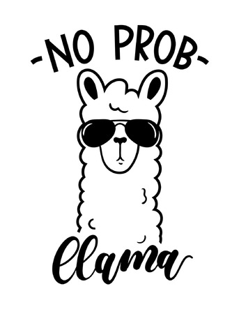 No probllama card isolated on white background. Simple white llama with sunglasses and lettering. Motivational poster for prints, cases, textile or greeting cards. Vector illustration. Ilustração