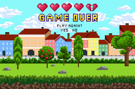 """Game over pixel es un diseño con paisaje de la ciudad, cielo y árboles. Inscripción de píxel """"Fin del juego. ¿Volver a jugar?"""" con cinco corazones. Ilustración vectorial."""