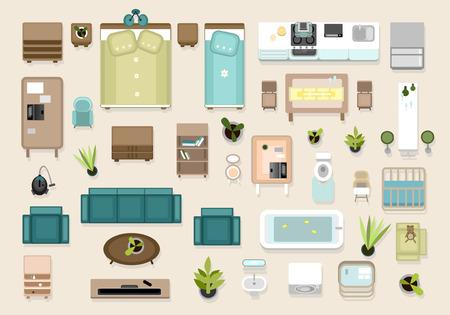 Interior top view elements set. Bedroom, nursery, living roon, kitchen, bathroom. Apatrment furniture set. Banque d'images - 114876418