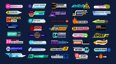 Big set of news bar isolated on blue background. Live, sport, fake, online news etc. Vector illustration