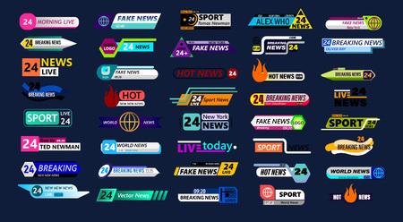 Grande set di barra delle notizie isolato su sfondo blu. Live, sport, fake, notizie online ecc. Illustrazione vettoriale