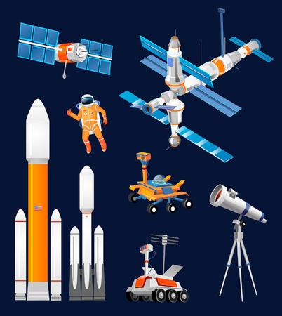 Wektor kreskówka zestaw eksploracji kosmosu. Rakiety kosmiczne, teleskopy astronomiczne, antena satelitarna, astronauta, łazik, łazik księżycowy, międzynarodowa stacja kosmiczna. Sprzęt naukowy w eksploracji kosmosu.