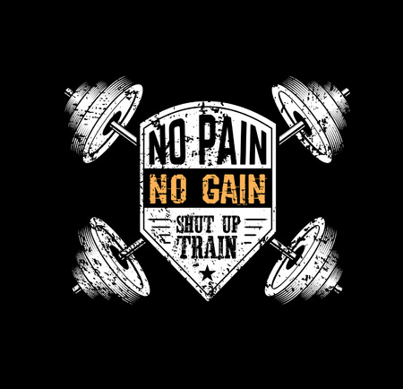 No pain no gain Gym motivational print with grunge effect, barbell and black background. Vector illustration.