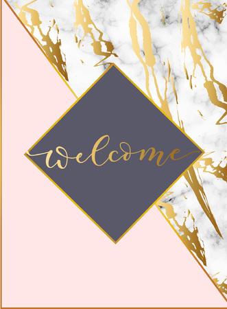 Moderne ontwerpsjabloon met witte marmeren textuur en blush roze achtergrond. Elegante ontwerpsjabloon voor huwelijksuitnodiging, feest, wenskaart of jubileum. Vector illustratie.