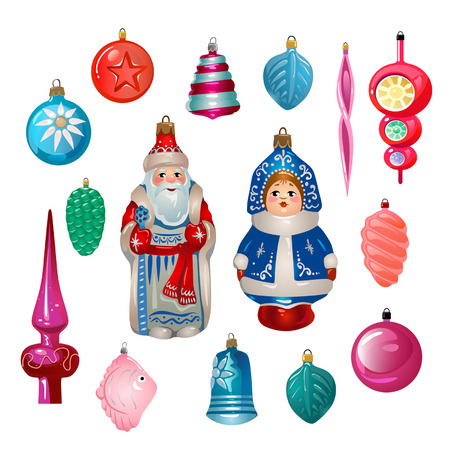 Zestaw ozdób choinkowych retro kreskówka z ZSRR. ZSRR Nowy rok ikony na białym tle. Kolorowe świąteczne zabawki wektor zestaw. Ilustracje wektorowe