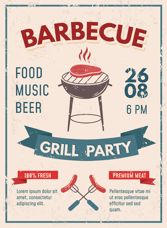 Barbeque retro poster with grunge effect. BBQ party invitation design. Vector illustration Çizim