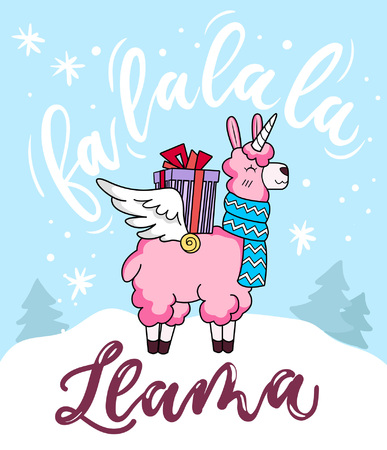 "Cute llama unicorn Christmas greeting card with lettering inscription ""Fa la la la llama"" and doodles. New Year greeting card."
