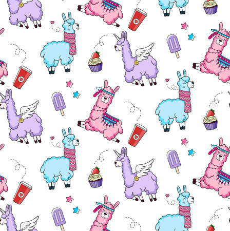 Lllama seamless pattern with cute llamas and doodles. Alpaca design for textile, prints etc. Vettoriali