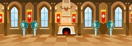 Salón del castillo de dibujos animados con caballeros, chimenea y ventanas en la gran sala. Ilustración vectorial