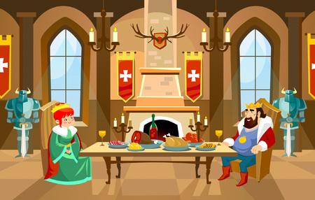 Corridoio del castello dei cartoni animati con re e regina. Cena reale davanti al camino nella grande sala. Illustrazione vettoriale