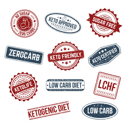 Big set of keto stamps and labels isolated white craft background with grunge effect. LCHF, Low carb, Zerocarb, Keto approved, no sugar zero carbs, sugar free, low carb diet, ketogenic diet stamps.