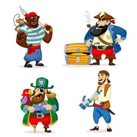 Set of cartoon pirates isolated on white background. Vecto illustration.
