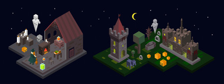 Set of Halloween isometric elements. Castle, tower, witch, ghost, cemetery, wood, poison and fireplace. Vector illustration Иллюстрация