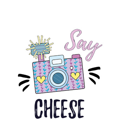 Say cheese inspirational poster with camera. Vector illustration