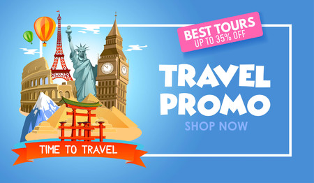 Travel agency promo banner with discounts for tours. Vector illustration.