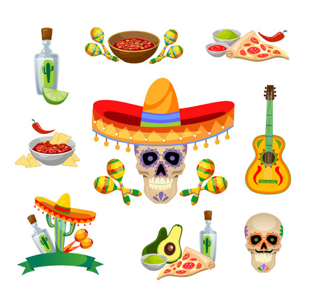 Mexican food and decorations set isolated on white background. Tequila, guitar, food etc. Vector illustration.