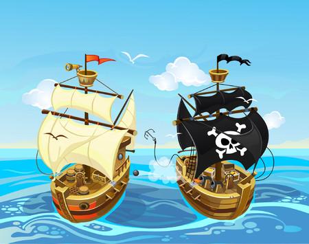 Ilustración colorida con batalla de barco pirata en el mar. Ilustración de pirata de dibujos animados de vector.