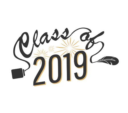 Class of 2019 graduation card. Vector illustration
