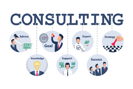 Consulting concept design for business, planning, strategy etc. Vector illustration