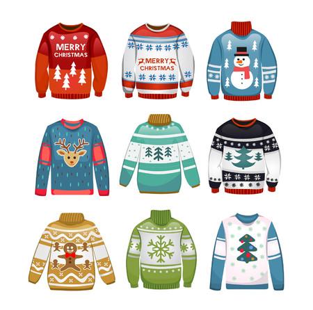 Zestaw brzydkich swetrów. Świąteczne swetry na białym tle. Ilustracja wektorowa