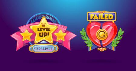 Game elements set. Level Up, failed cartoon colorful buttons. Vector illustration Ilustração