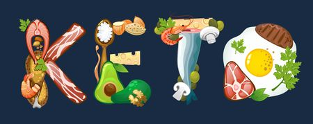 Keto inscription made of ketogenic diet food. Vector illustration Illustration