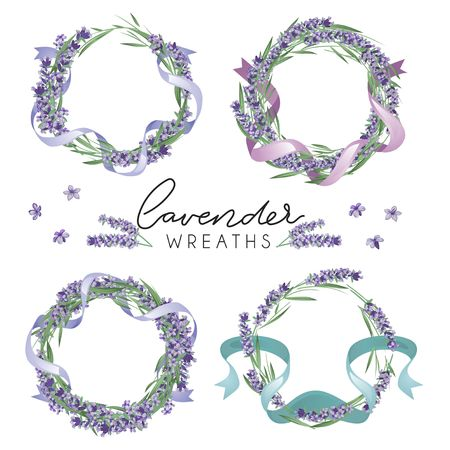 Set of cute lavender wreaths. Provence style floral design. Vector lavender flowers isolated on white background