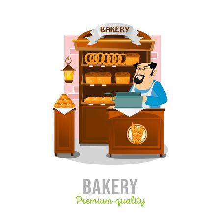 Bakery shop isolated on white background. Cartoon bakery market. Local business bakery store.