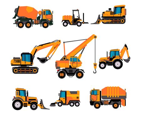 Ensemble de différents équipements de construction sur fond blanc. Bétonnière, chargeuses sur pneus, excavatrice, bulldozer, chargeuse frontale, tractopelle. Vecteurs