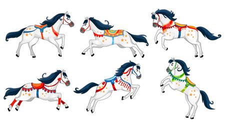 Set of cute cartoon horses isolated on white background. Running white vector horses for carousel, invitations, cards, posters etc.