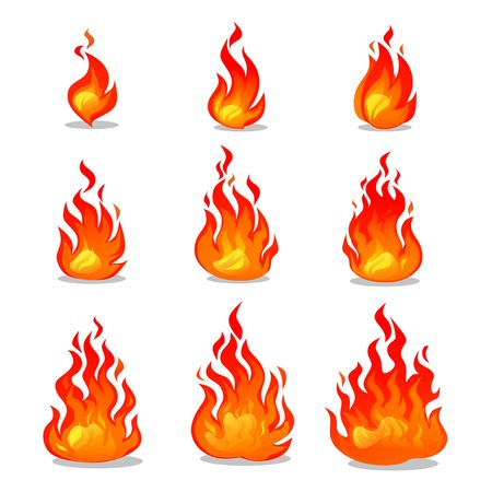 Cartoon fire animation design on white background. Vector fireplace illustration for animation, games etc.